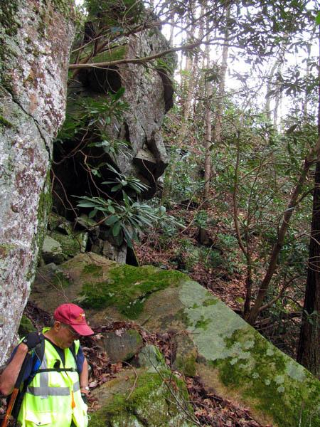 rock cliffs above the ravine
