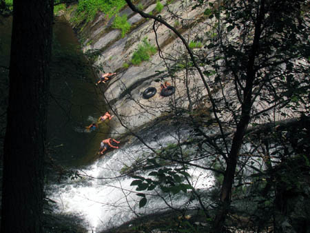 swimming at the lower part of the falls