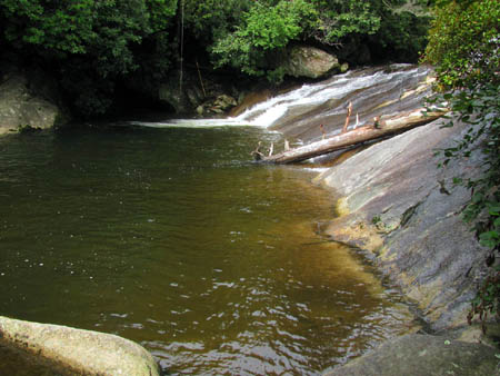 Swimming hole and long cascades