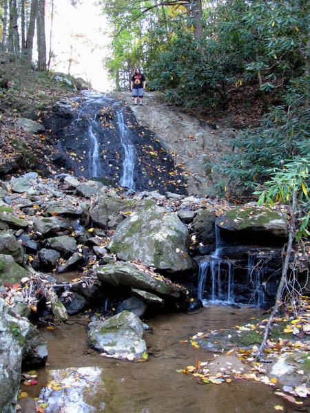 Tyler atop Upper Clear Branch Falls