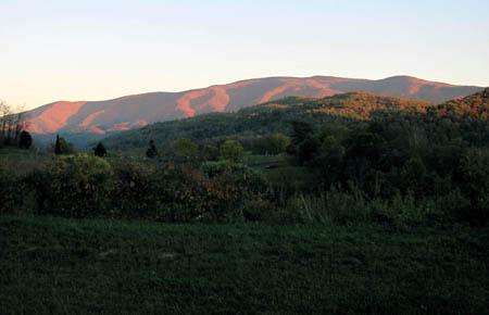 Sun setting on Unaka Mountain