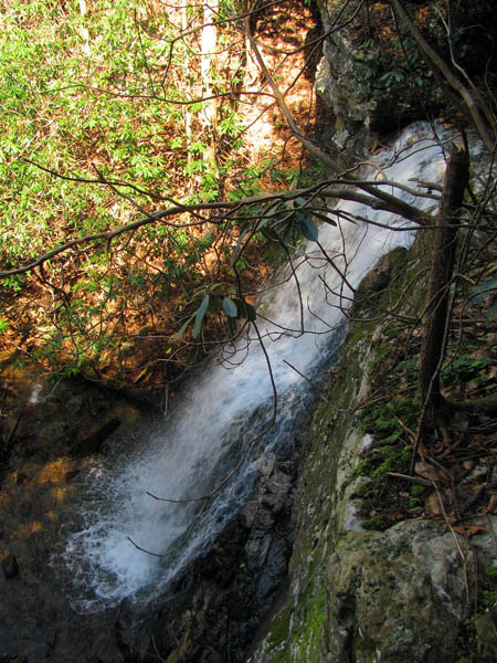 Lilybeth Falls looking down from top edge