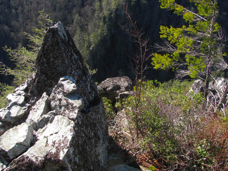 Looking past and to the right of the 'Dragon's Tooth'