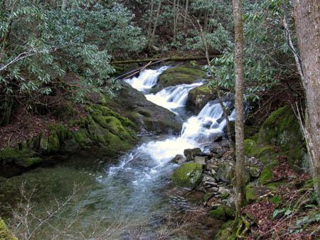 The cascades on Rocky Fork Creek